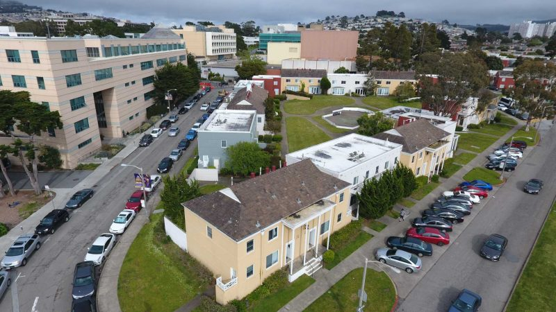 A picuture of the Tapia Triangle in San Francisco is taken from a drone on Monday, April 24, 2017. A new Creative Arts Building is planned at the location to house the broadcast and electronic communication arts (BECA) department (Lee Kin/Xpress).