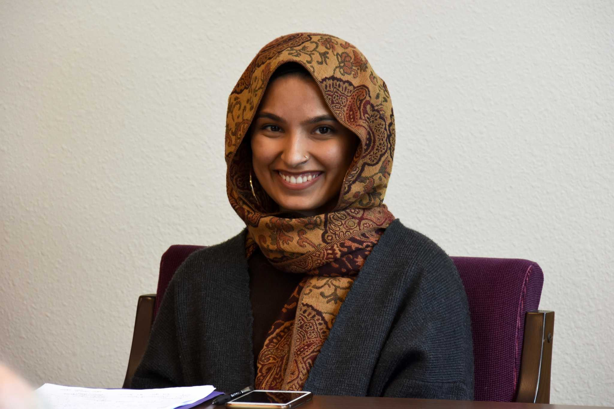 SF State student Maham Khan speaks at a student panel at SF State, regarding the political climate and support needed for Muslim students on April 6, 2017. (Tate Drucker/Xpress)