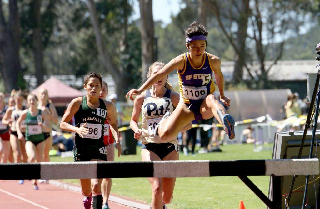 Junior Gator, Adriana Calva, running the steeples during the Distance Carnival at SF State on Friday March.31, 2017 (Kyler Knox/Xpress)