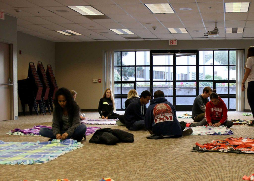 Resident Life and Disney Voluntears partner up to host blanket drive for Oakland Children's Hospital at SF State April 24, 2017. (Kyler Knox/Xpress)