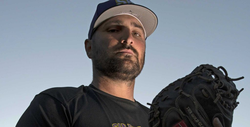 Tyler Latorre, pitching coach of the Gators men's baseball team, poses for a picture at Maloney Field in San Francisco on Wednesday, March 1, 2017. LaTorre is in his second year on the coaching staff of the Gators'.  (Lee Kin/Xpress)