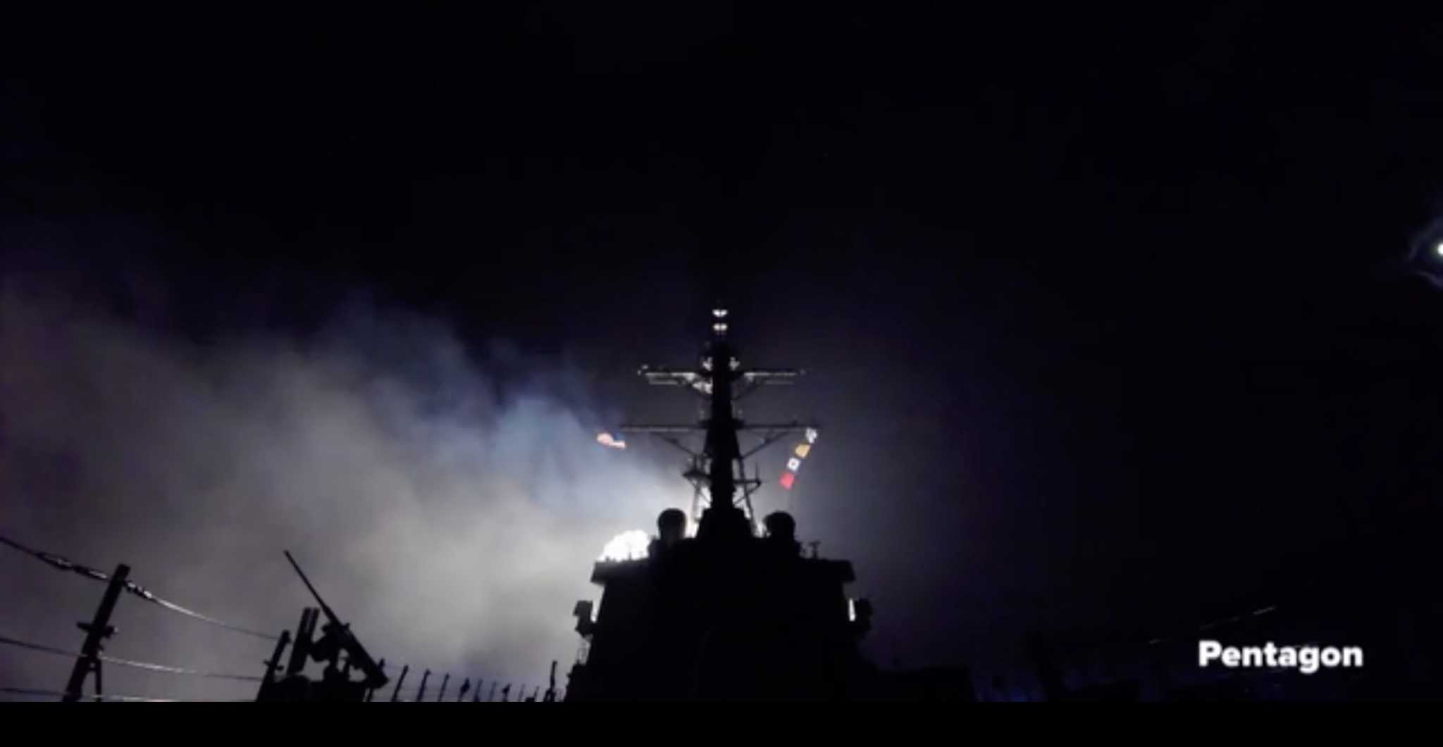 U.S. Navy destroyer launches a cruise missile strike against Syria on April 7, 2017. Courtesy U.S. Navy/ Pentagon.
