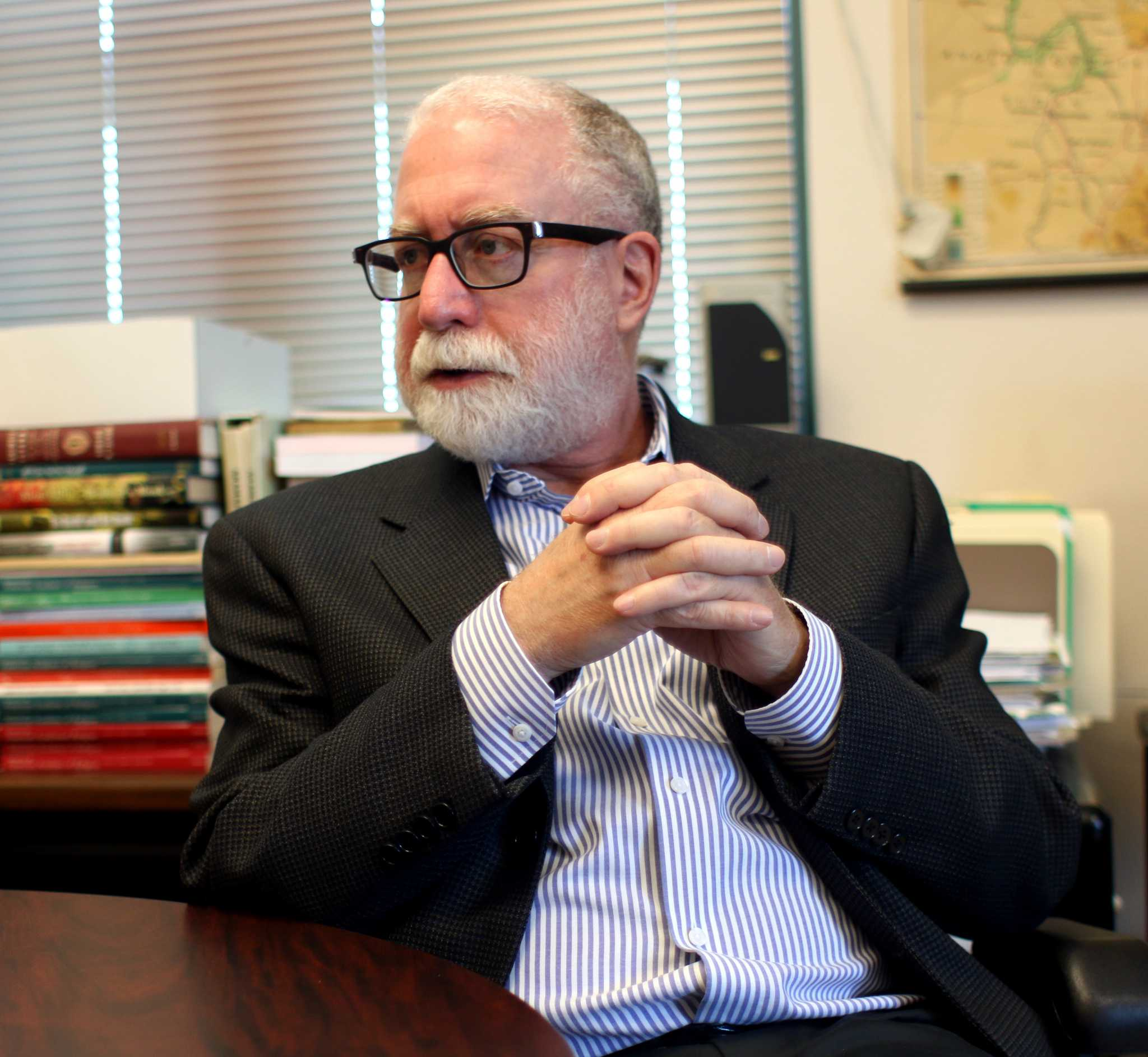 Department chair of Jewish studies, Fred Astern discusses the relationship between campus officials and the Jewish department on in his office located on campus on May 8, 2017. (Laila Rashada/ Xpress)