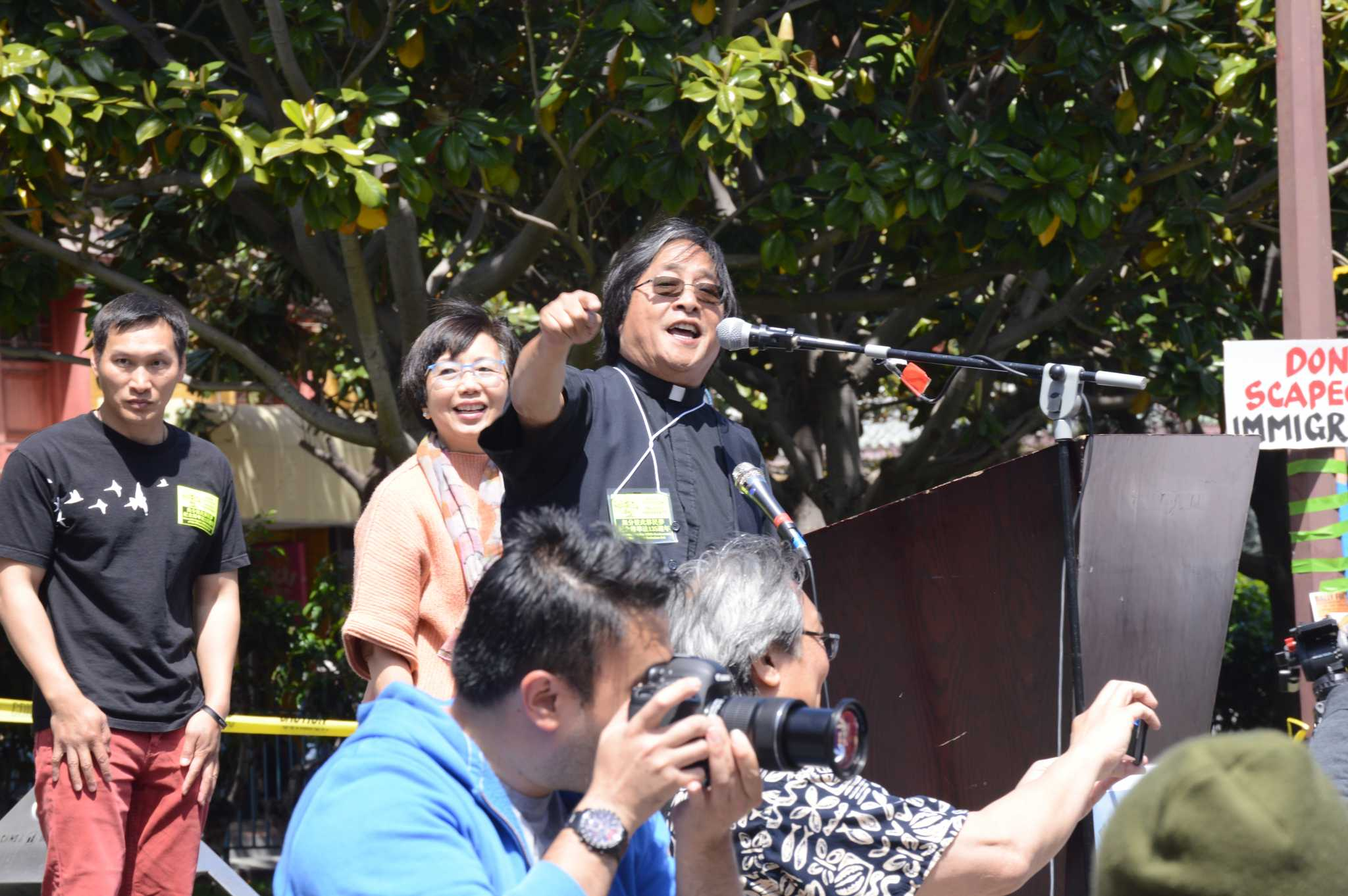 Norman Fong addresses the crowd on Saturday, May 6, 2017 in Chinatown's Portsmouth Square.(Courtesy of Darrin Baluyot)