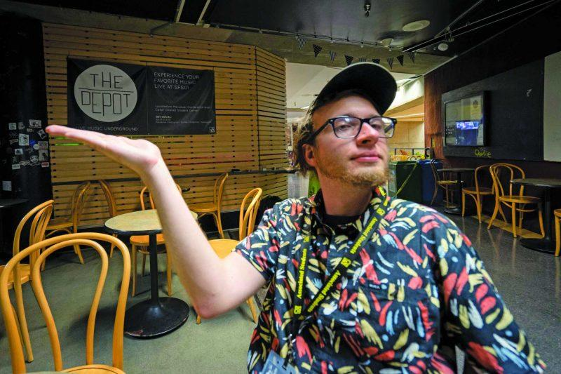 Joaquin Vasquez-Duran poses for a portrait in the depot at San Francisco State on Tuesday, August 22, 2017. (Sarahbeth Maney/Golden Gate Xpress)