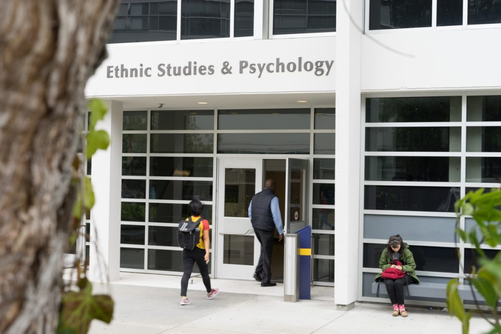 People enter the Ethnic Studies and Psychology building at SF State in San Francisco, Calf. on Wednesday, August 24, 2017. (Sarahbeth Maney/Golden Gate Xpress)