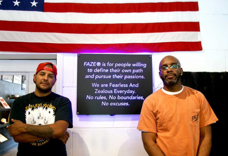Herbert Gracia and Johnny Travis pose for a portrait inside Faze Apparel in San Francisco on Saturday, August 26, 2017. (Aya Yoshida/Golden Gate Xpress)