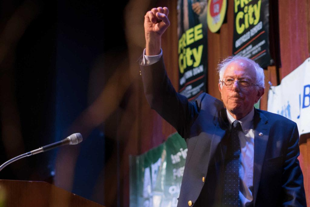 U.S. Sen. Bernie Sanders speaks about providing tuition-free schooling during the Free City Celebration at City College of San Francisco, Friday, Sept. 22, 2017. (Sarahbeth Maney/Golden Gate Xpress)