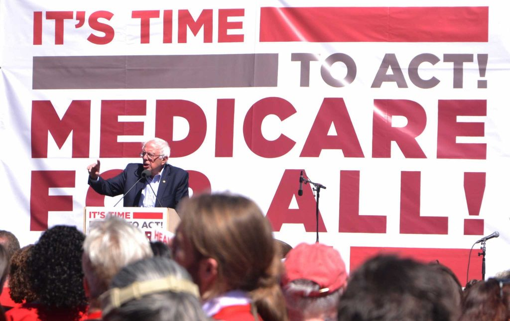 U.S. Sen. Bernie Sanders speaks during a rally held by the California Nurses Association at Yerba Buena Gardens in San Francisco, Friday September 22, 2017. (Cristabell Fierros/Golden Gate Xpress)