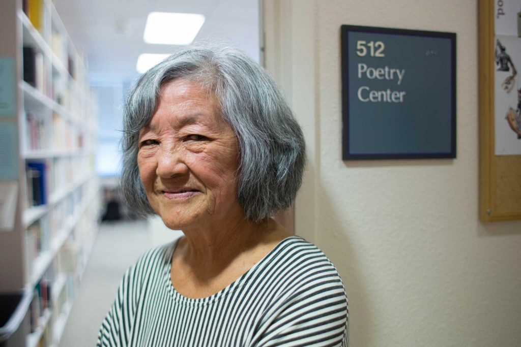 Nellie Wong poses for a photo in the Poetry Center at SF State on Thursday, Aug.  31, 2017.  (Travis Wesley/Golden Gate Xpress)