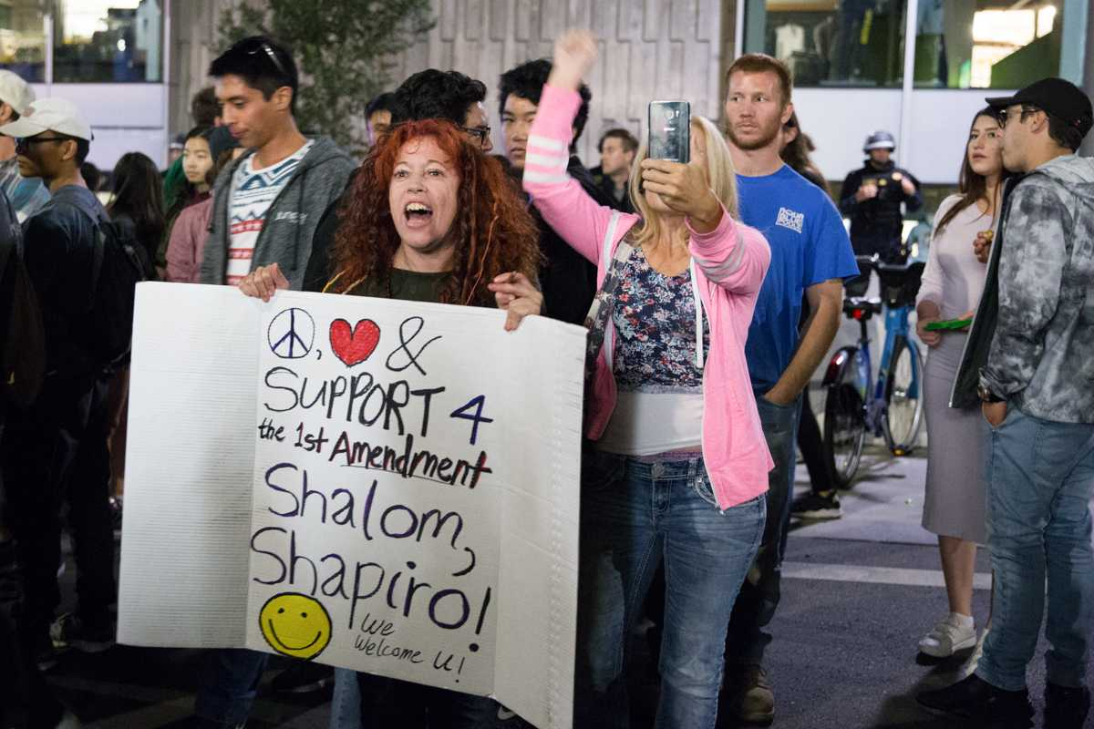 Demonstrators gather during a protest near UC Berkeley on Thursday, September 14, 2017. (Travis Wesley/Golden Gate Xpress)