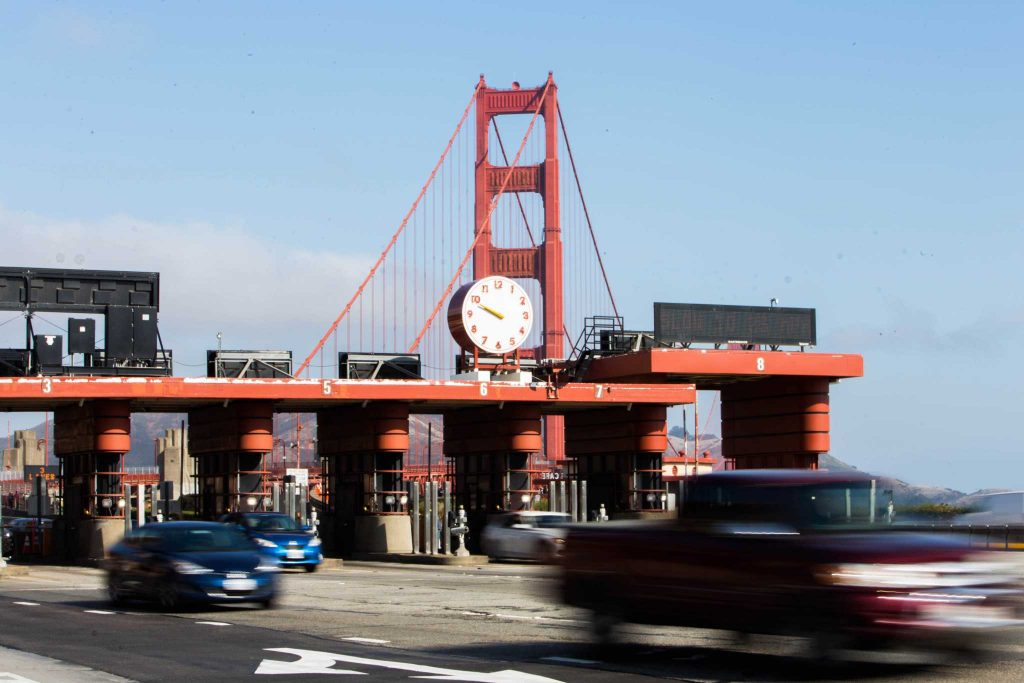 Cars exit toll booths at the Golden Gate Bridge in San Francisco on Sunday, September 17, 2017. (Mitchell Mylius/Golden Gate Xpress)
