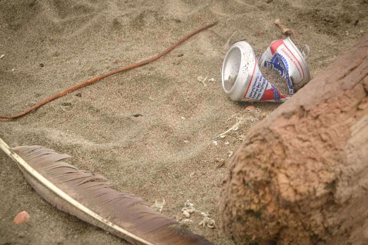 An empty beer can is littered at Ocean Beach in San Francisco on Wednesday, September 13, 2017. (Golden Gate Xpress/Cristabell Fierros)