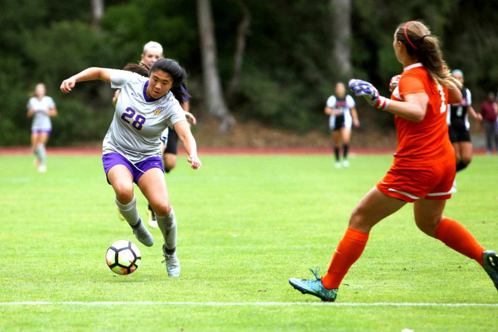 Tami Kwong (#28) traps the ball during a game against the East Bay Poineers at Cox Stadium at SF State, Friday, Sept. 29, 2017. Kwong held the only two goals of the match. (Mitchell Mylius/Golden Gate Xpress)