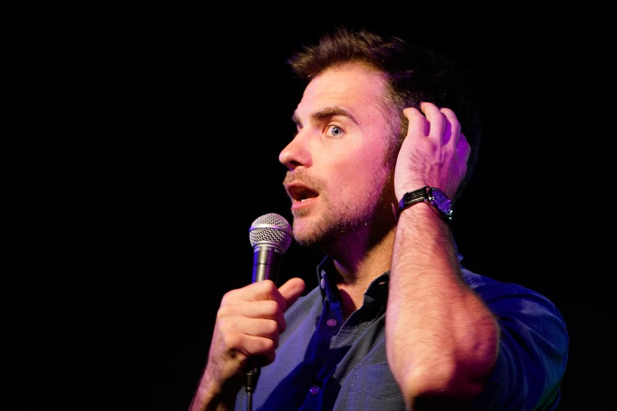 DJ Demers performs at a deaf comedy show in The Depot at SF State, Wednesday Oct. 4, 2017. (Diego Aguilar/Golden Gate Xpress)