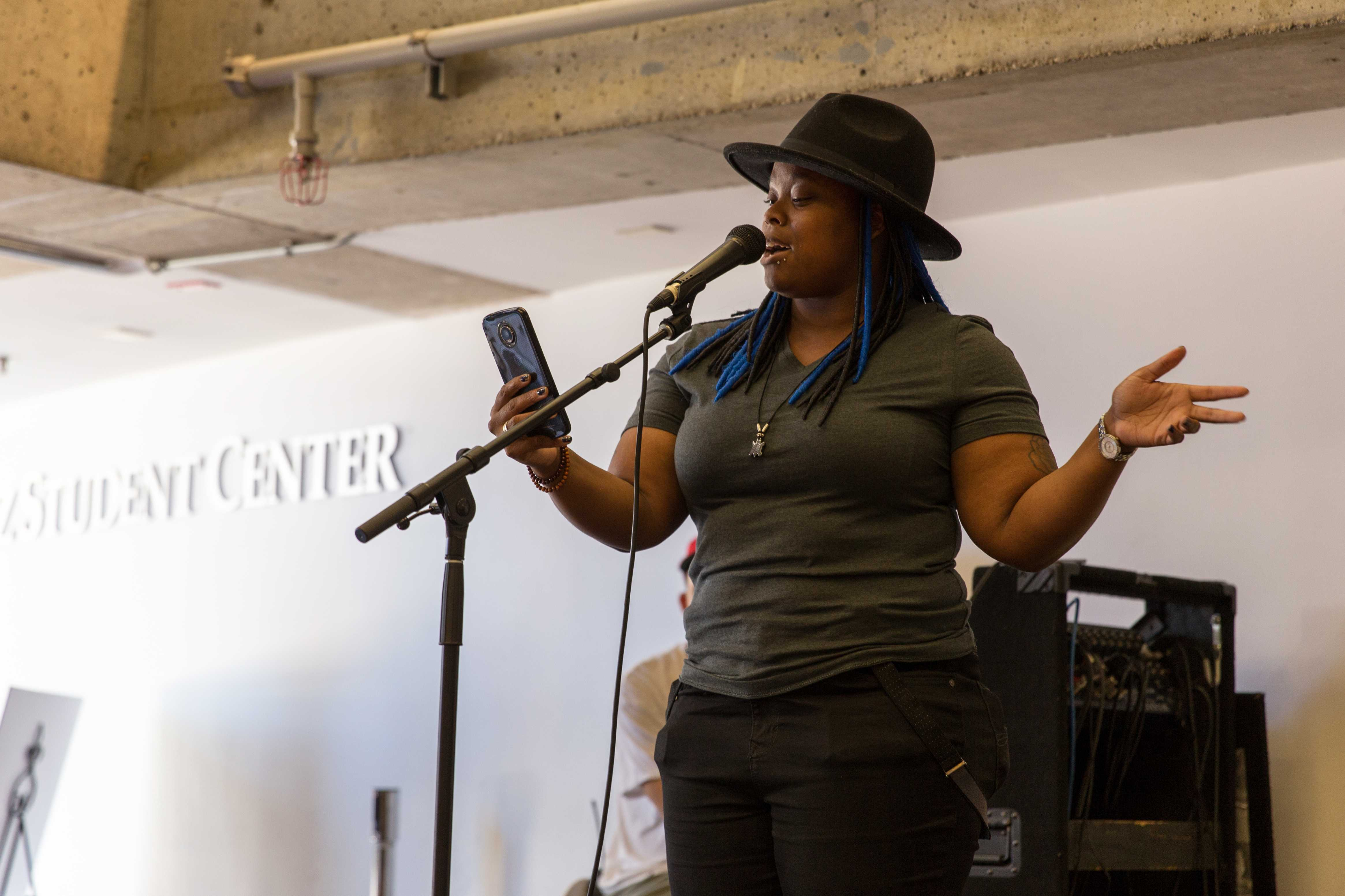 Destiny Evans reads an original piece of literature during the Celebrate Banned Books Week event in the Cesar Chavez Student Center at SF State, Thursday, Sept. 28, 2017. (Travis Wesley/Golden Gate Xpress)