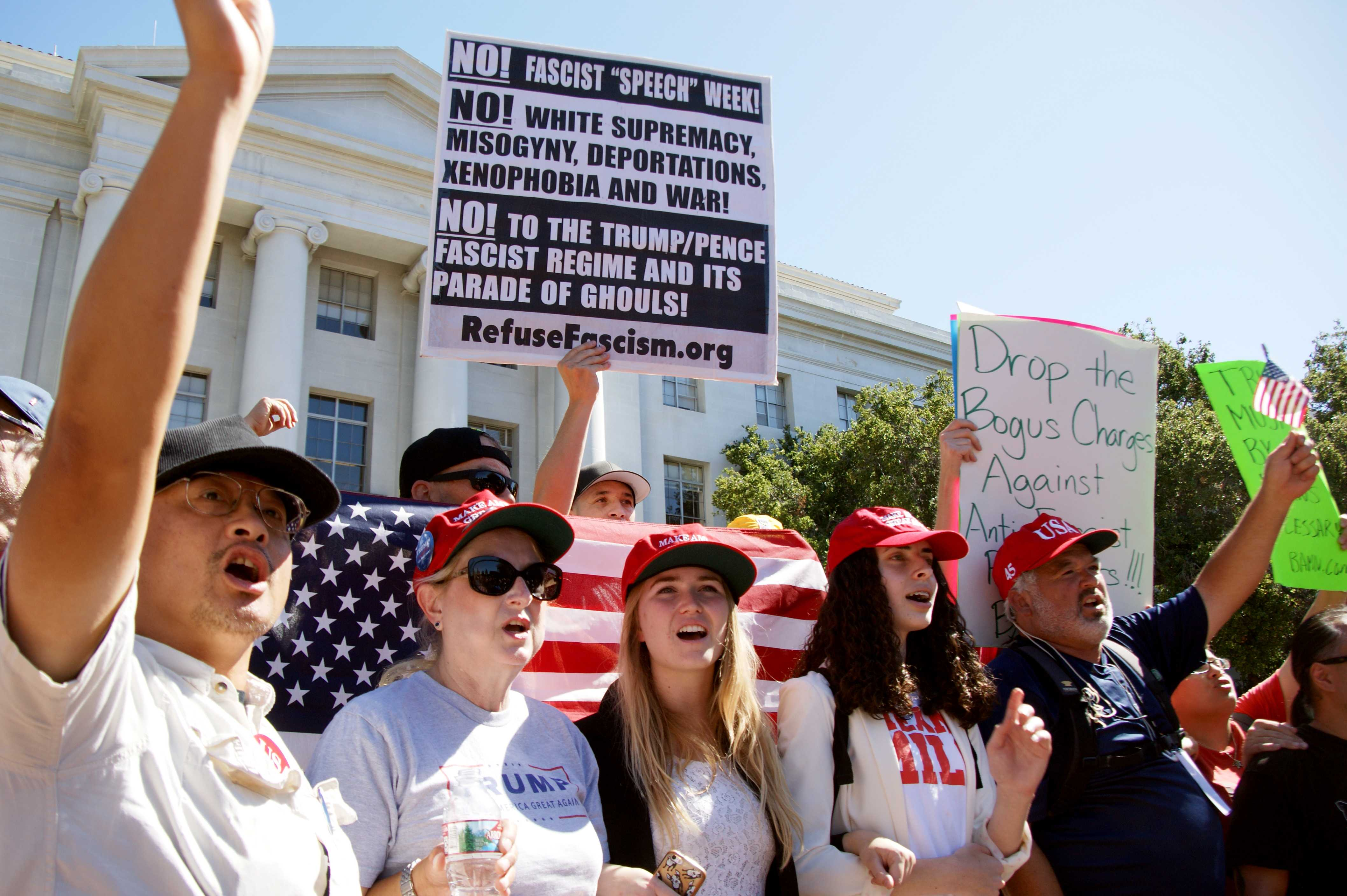 Trump supporters stand in front of anti-fascism protesters during a free speech rally at UC Berkeley, Wednesday, Sept. 27, 2017. (Aya Yoshida/Golden Gate Xpress)