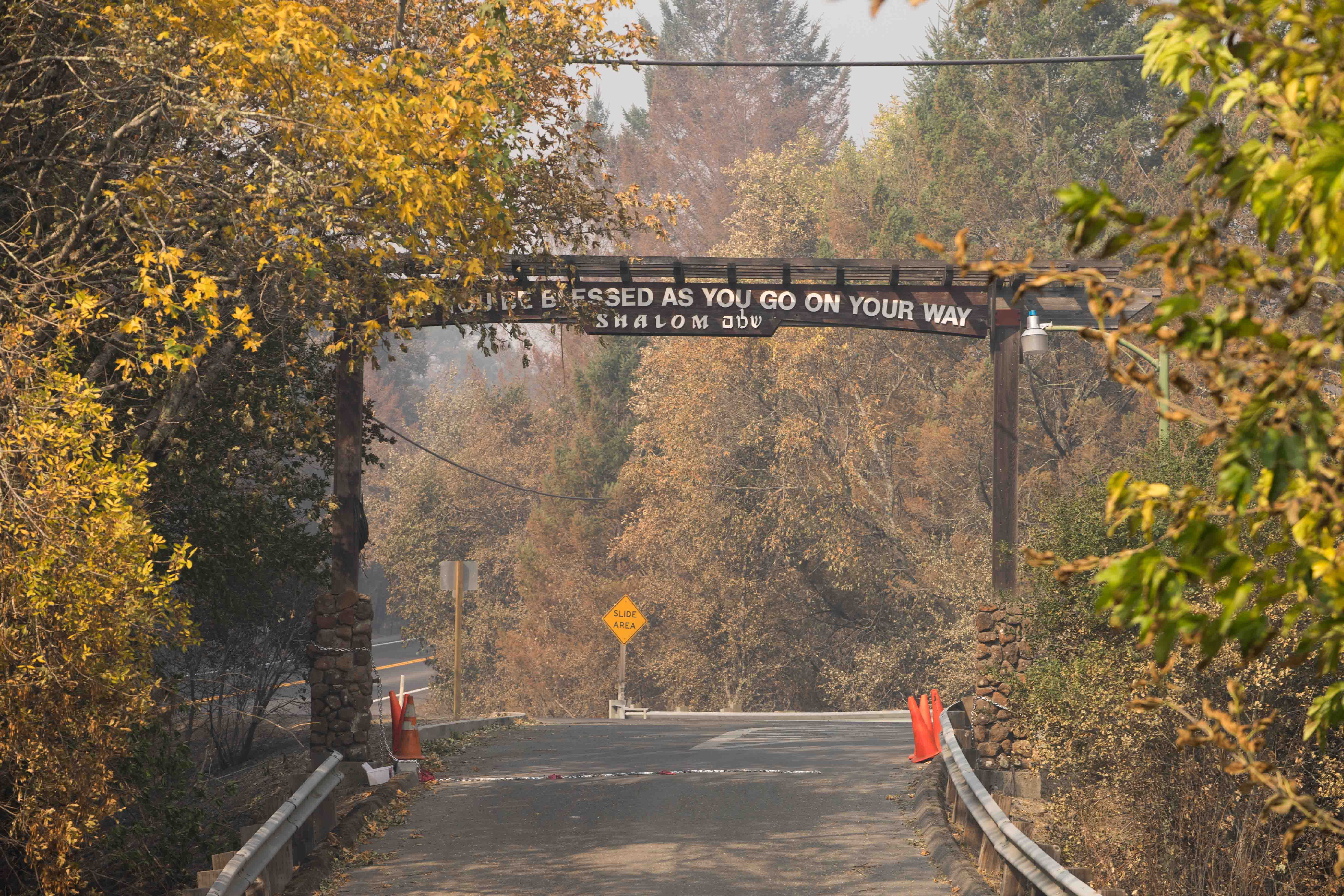 The entrance of Camp Newman stands in survival after the Santa Rosa fires on Wednesday, Oct. 19, 2017. (Sarahbeth Maney/Golden Gate Xpress)