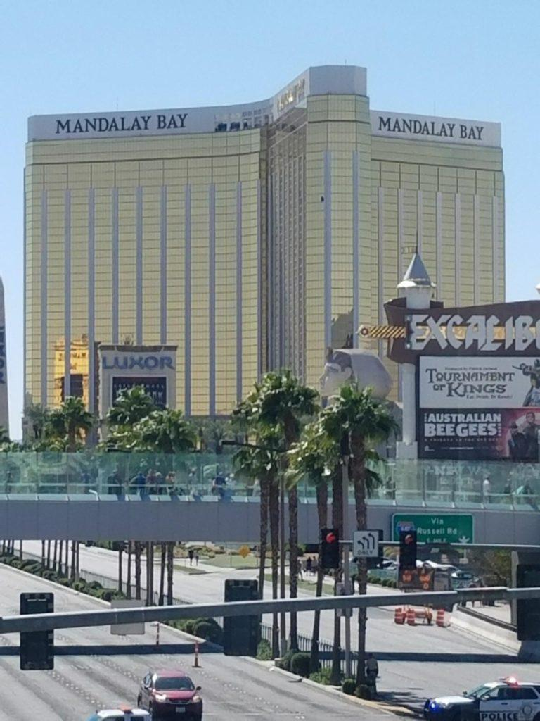 A view of the Mandalay Bay Hotel, where Stephen Paddock fired down on the crowd from the 32nd floor. (Haley Perry/Golden Gate Xpress)