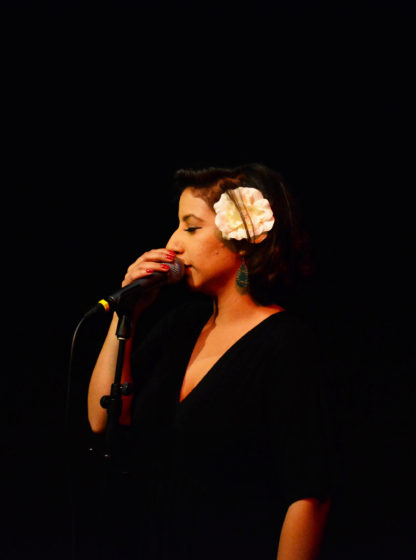 Jaqueline sings during Jazz at the Depot in the Cesar Chavez building at SF State, Tuesday, Oct. 10, 2017. (Bryan Ramirez/Golden Gate Xpress)
