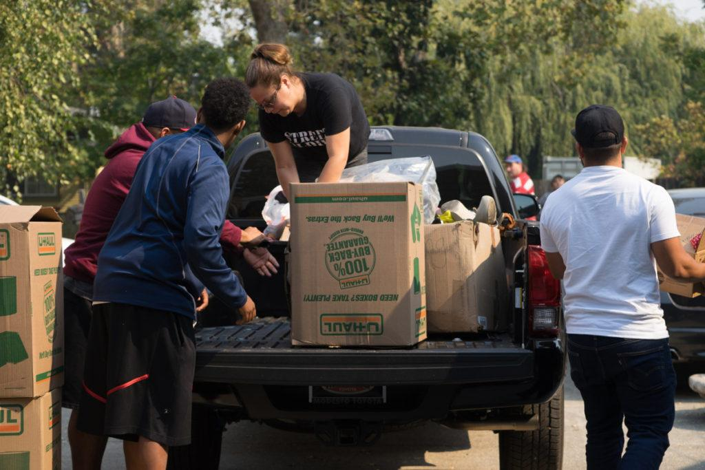 "A volunteer group called the ""Street Soldiers"" gather donations for fire evacuees in Santa Rosa on Friday, Oct. 13, 2017. (Sarahbeth Maney/Golden Gate Xpress)"