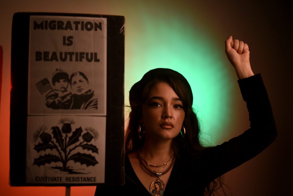 Christabel, a 21-year-old Chicanx activist and a Latino studies major at SF State, poses on Thursday, September 14, 2017. (Lauren Hanussak/Golden Gate Xpress)