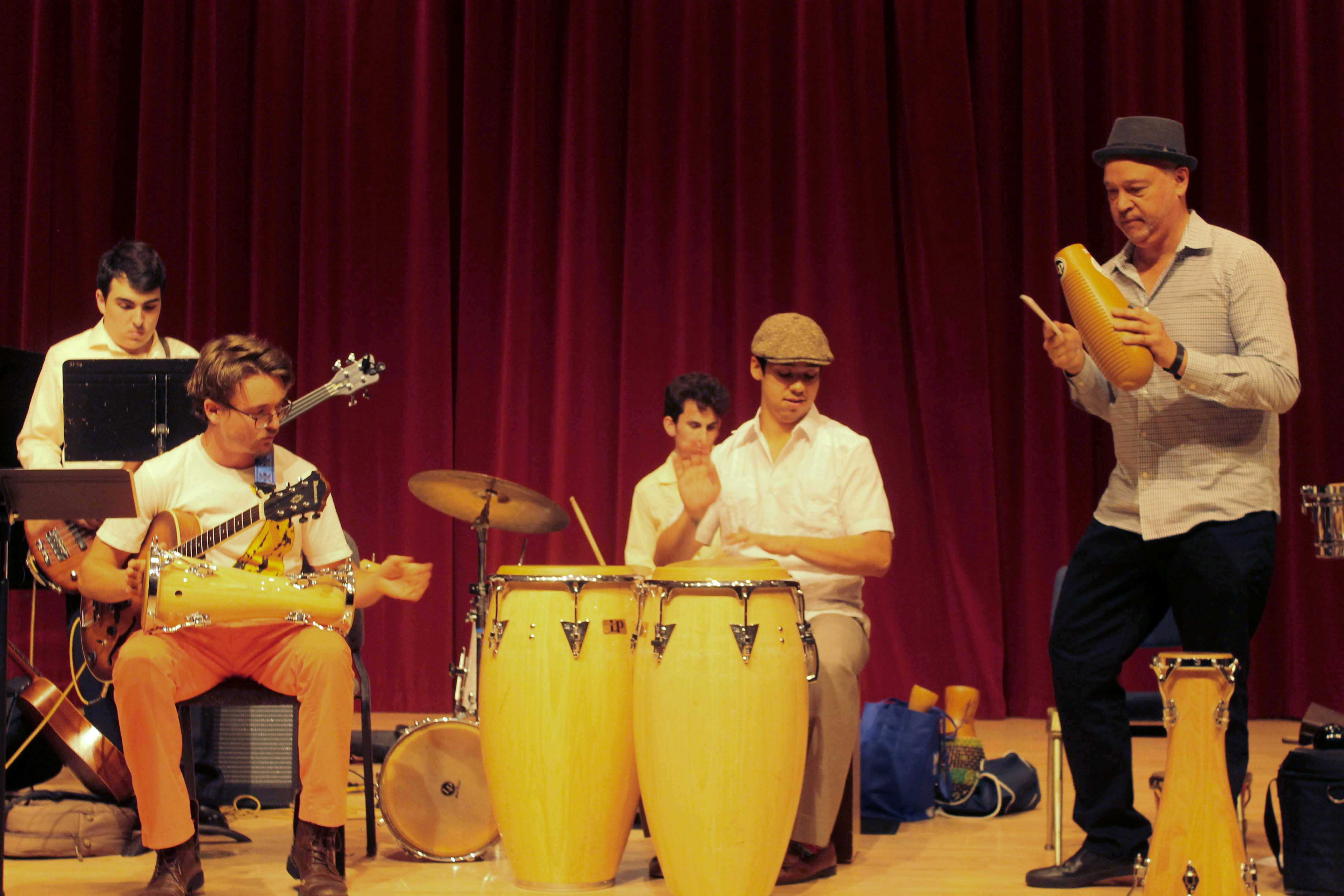 Afro Cuban Ensemble of San Francisco State University perform in Knuth Hall in the Creative Arts department at SF State on Wednesday, November 7, 2017. (Bryan Ramirez/Golden Gate Xpress)