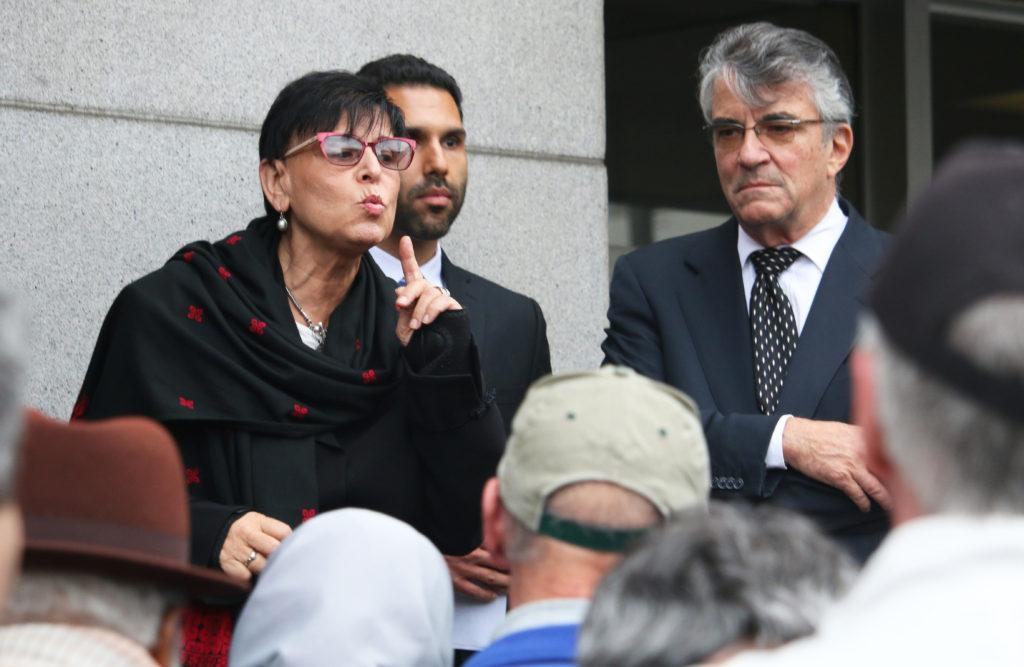 Dr. Rabab Abdulhadi and her attorneys Ben Gharagozli and Mark Kleiman speak at a press conference after the trial filed against them and San Francisco State University by Lawfare Project was dismissed on Nov. 8, 2017. (Kelly Rodriguez Murillo/Golden Gate Xpress)