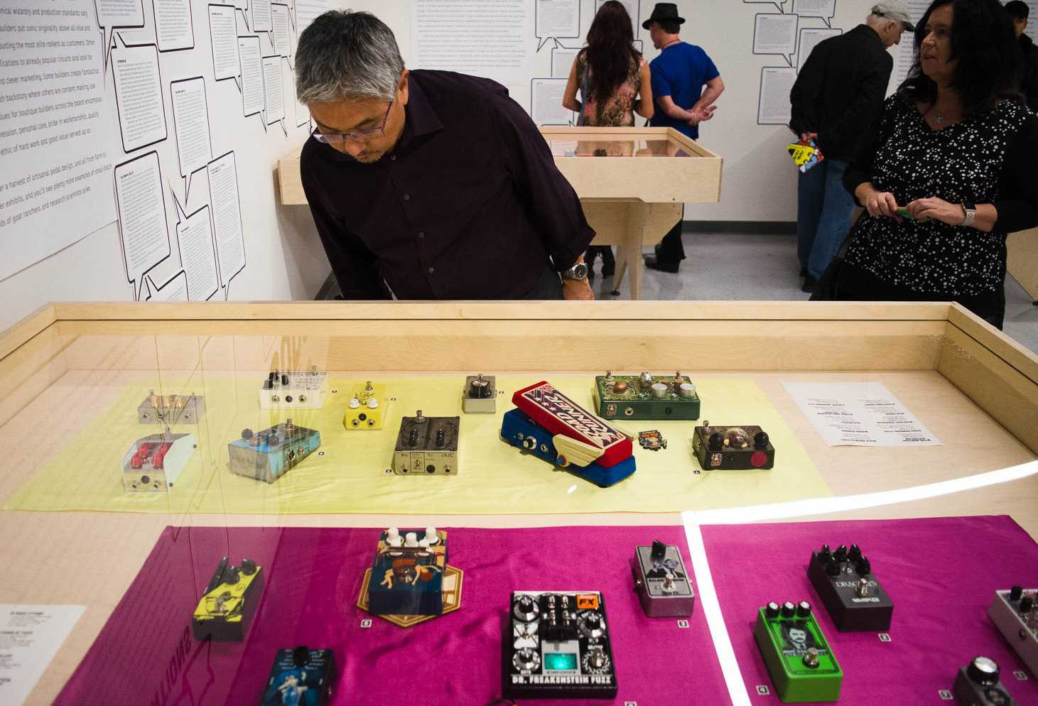 Pedal Culture is an interactive showcase that displays the history of guitar effects pedal and its impact on rock music. The opening reception was held at Design Space in the Fine Arts building at SF State Thursday, on November 2, 2017. (Richard Lomibao/Golden Gate Xpress)