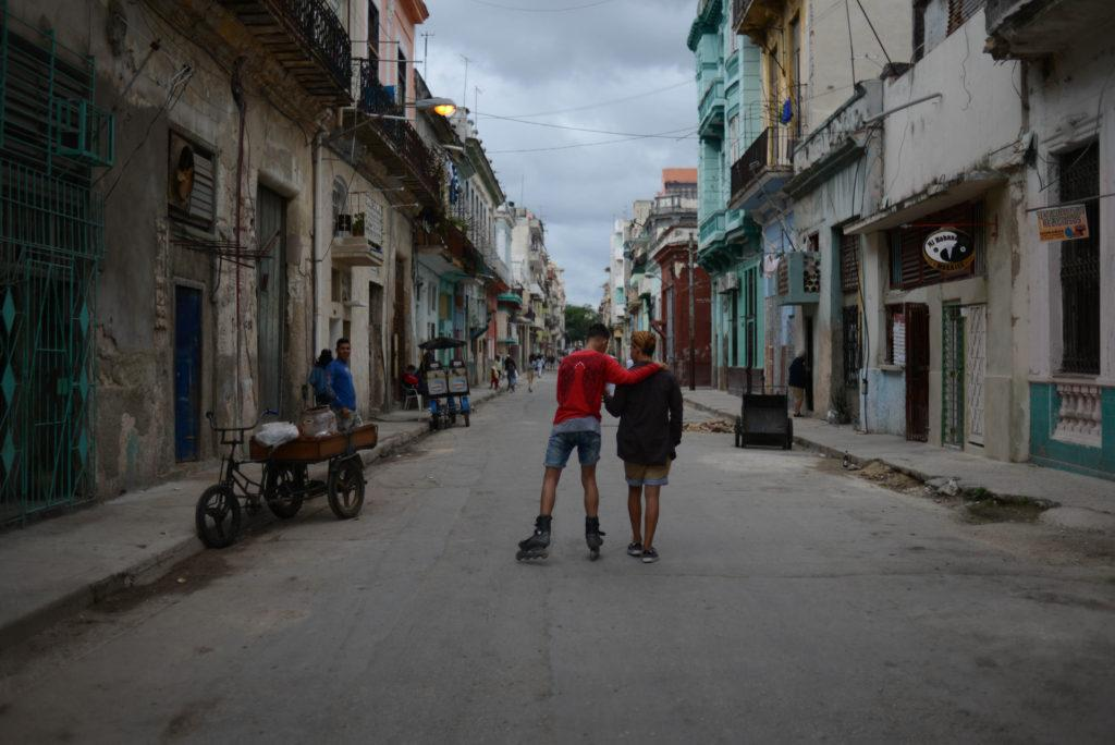 Two young men talking in the streets of Old Town in Havana, Cuba, Friday, Jan. 5, 2018 (Briana Gardener/Golden Gate Xpress)