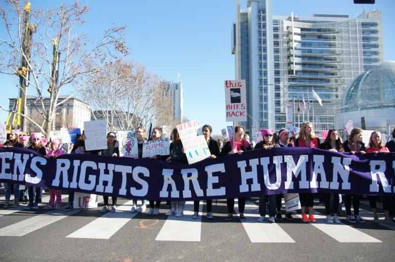 Thousands with pink hats and protest sighs show up for Women's March in San Jose, Saturday, Jan. 20, 2018. (Aya Yoshida / Golden Gate Xpress)