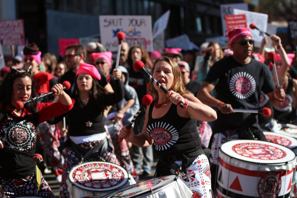 Batalá San Francisco members perform samba-style percussion and dance during the Women's March in Oakland, Calif., on Saturday, Jan. 20, 2018.(Golden Gate Xpress/ Christian Urrutia)