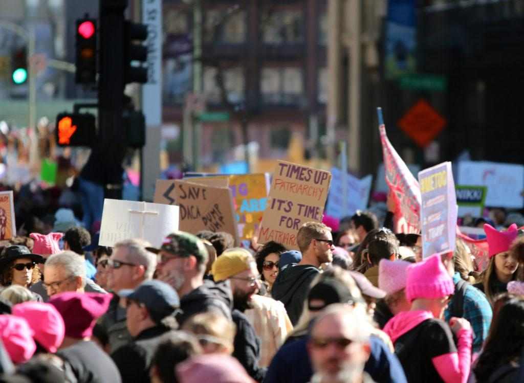 Thousands of people participate in the Women's March 2018 in Oakland, Calif., on Saturday, Jan. 20, 2018.(Golden Gate Xpress/ Christian Urrutia)
