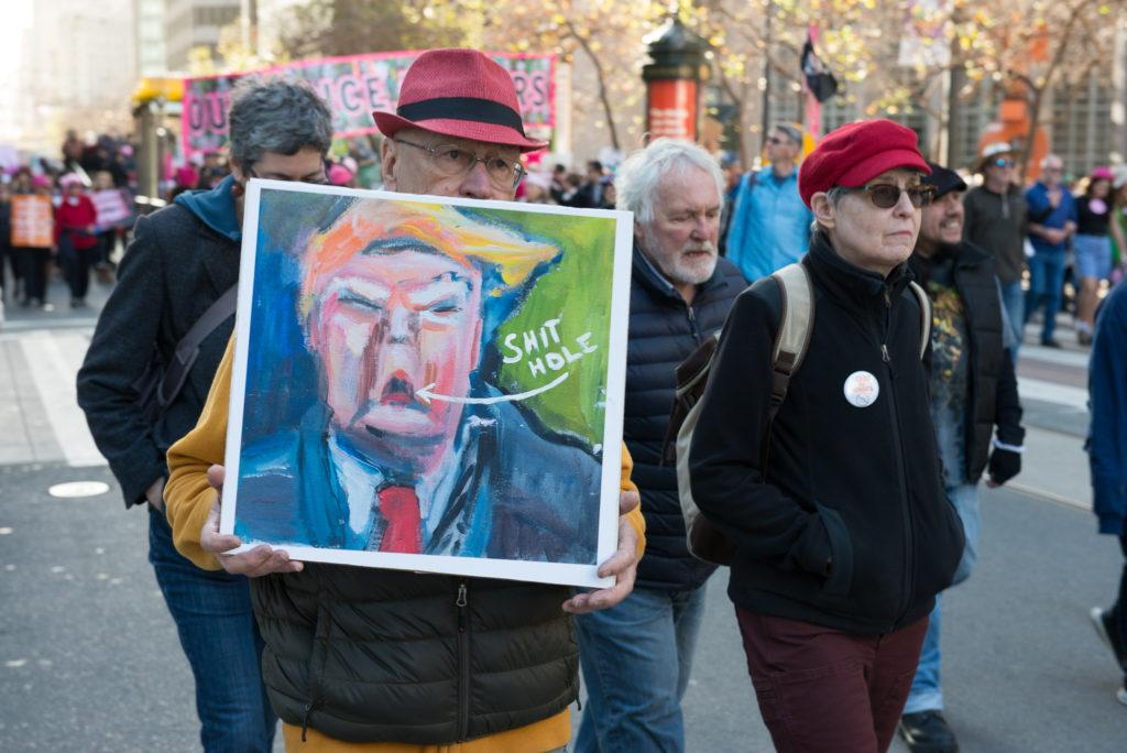 San Francisco resident who chose to be kept anonymous had a hand-painted portrait of Donald Trump during Women's March in San Francisco, Saturday, Jan. 20, 2018.(Golden Gate Xpress/ David Rodriguez)