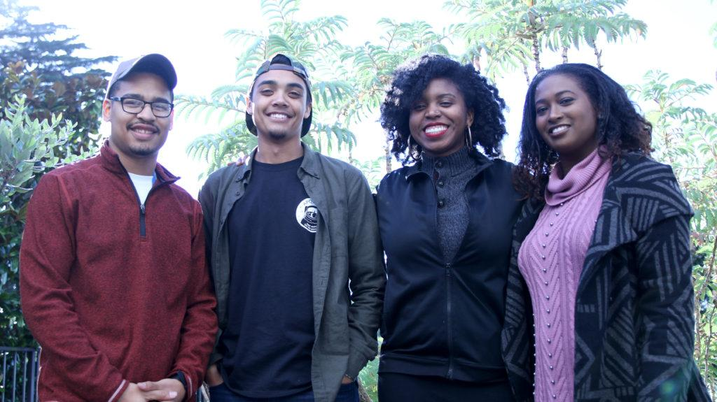 Black Excellence-STEM members, Alia Edington, Jasmine Sims, Deshawn Hopson and Wayne Swinson, aim to highlight unknown African American scietntists and professors. (Kyler Knox/Golden Gate Xpress)