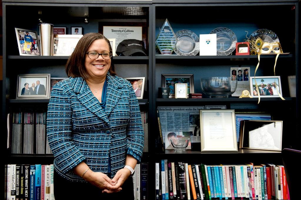 Linda Oubre, the dean of business, uses her time working in big business to help students achieve their full potential. (David Rodriguez/Golden Gate Xpress)