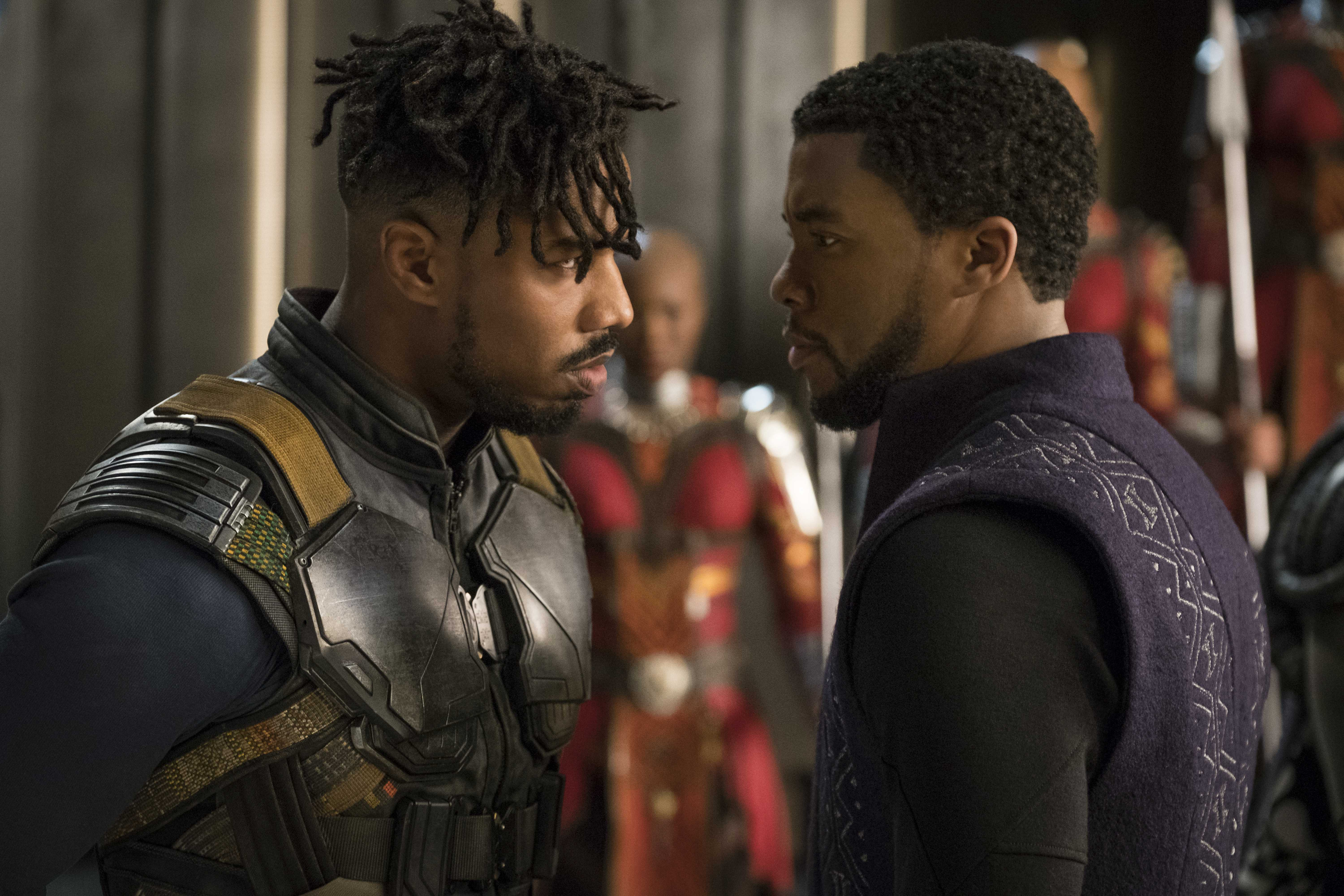 Eric Killmonger (Michael B. Jordan) confronts King T'Challa (Chadwick Boseman) for the first time. (photo courtesy of Marvel Studios)