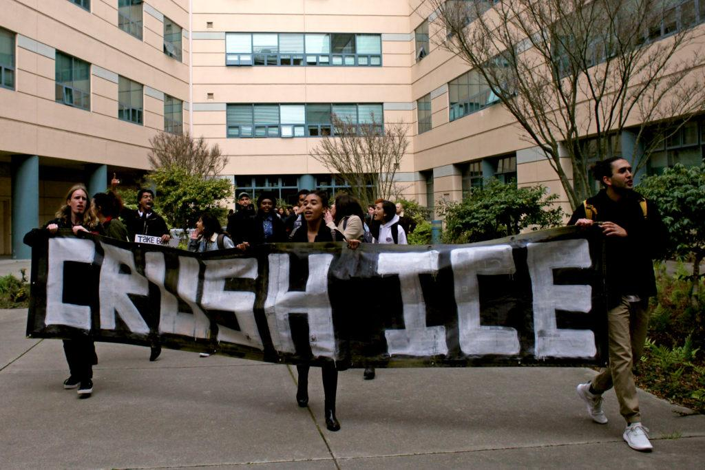 Student demonstrators gather in the quad of the Humanities Building of San Francisco State to protest the ICE raids occuring the Bay Area, in San Francisco, on Feb. 28, 2018. (Janett Perez/Xpress)