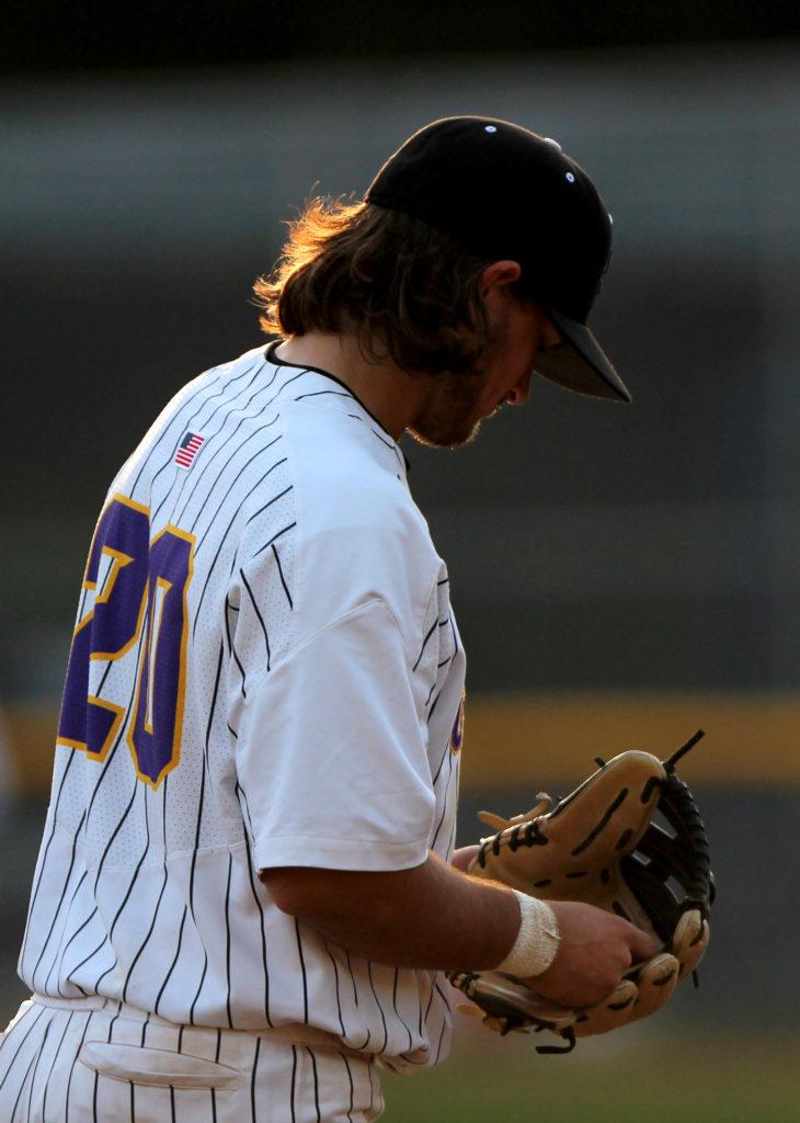 SF State infielder Antone Self (20) looks down before a play during the baseball home opener against Azusa Pacific at SF State's Maloney Field on Thursday, Feb. 1, 2018. (Christian Urrutia/Golden Gate Xpress)