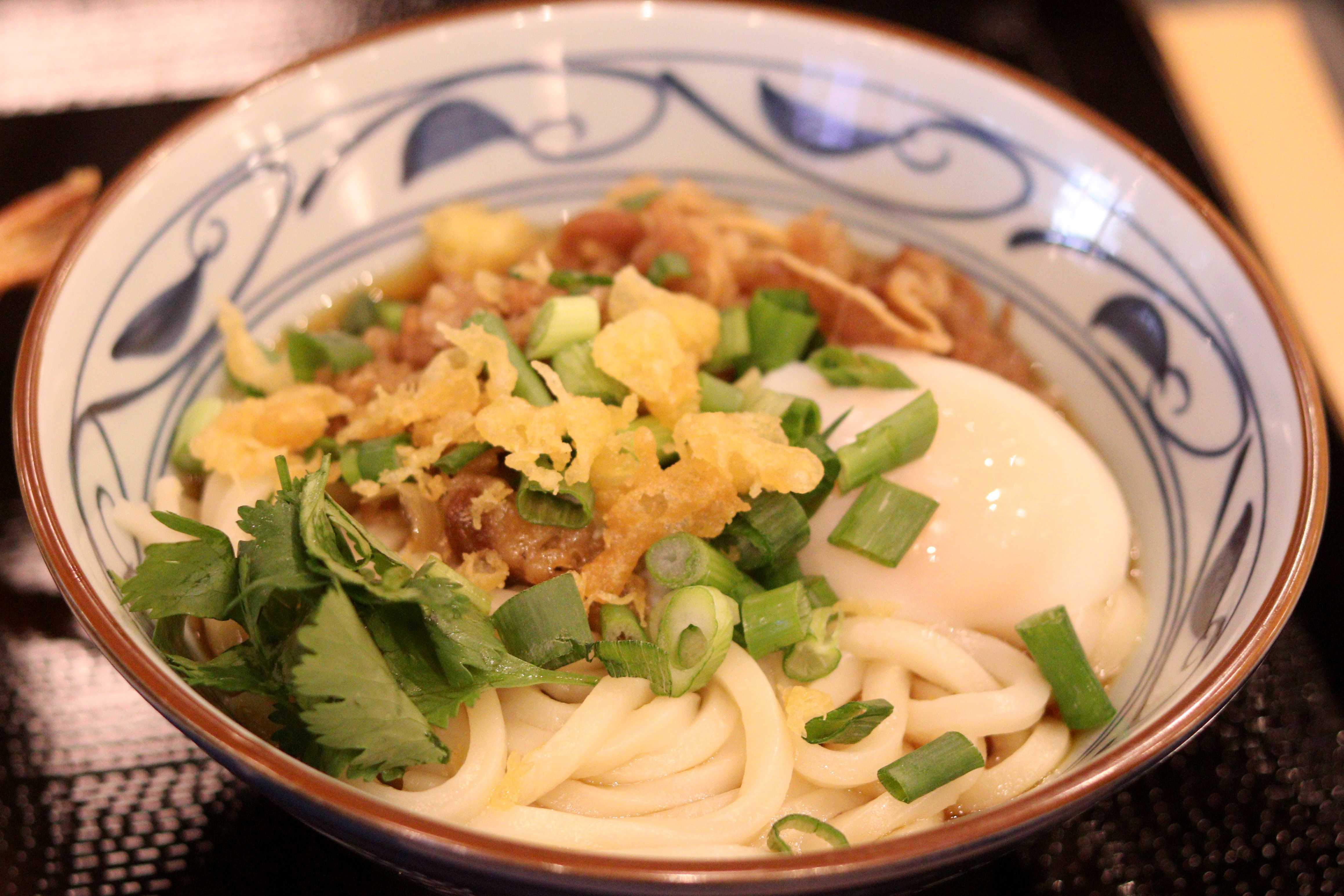 A bowl of Nikutama Udon at Marugame Udon at Stonestown Galleria in San Francisco on Wednesday, Feb. 28, 2018. (Oscar Rendon/Golden Gate Xpress)