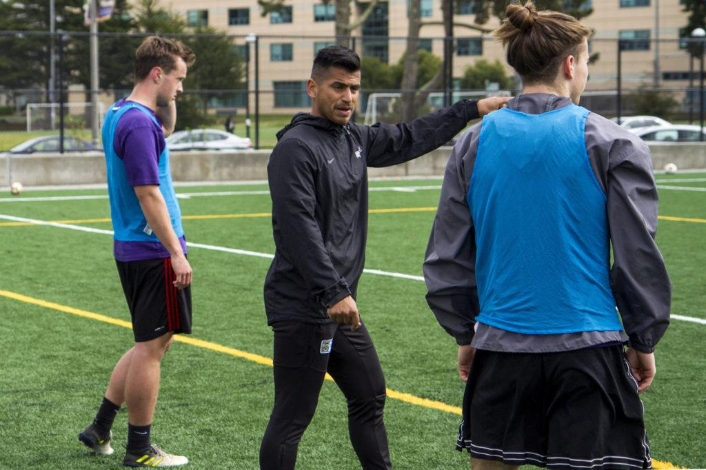 The Men's SoccerHead Coach Javier Ayala-Hil gives advice to his players during the practice at SF State on Friday, Mar. 2, 2018. (Joey Vangsness/Golden Gate Xpress)