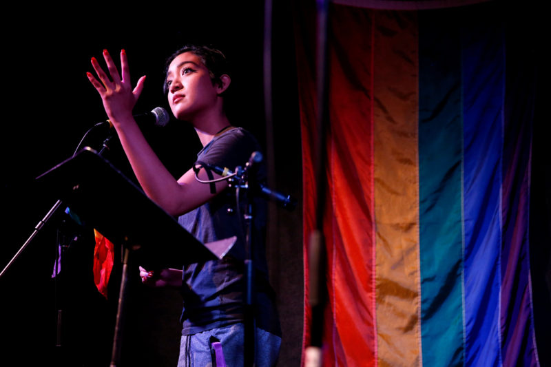 Alennie Roldan recites a haiku during the first half of the Queer Open Mic Night at The Depot on Monday, March 5, 2018. (Niko LaBarbera/Golden Gate Xpress)