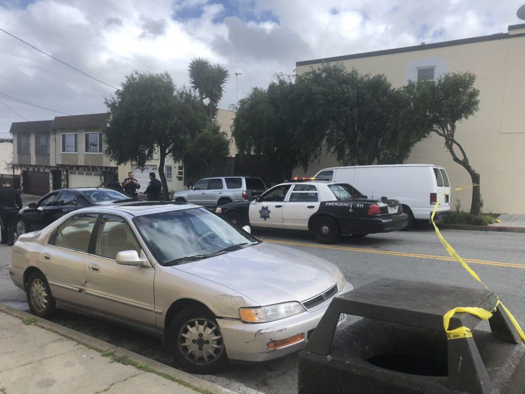 Police block off the scene of a drive by shooting near the intersection of Madison and Felton streets Thursday, March 1, in San Francisco. (Lea Loeb/Golden Gate Xpress)