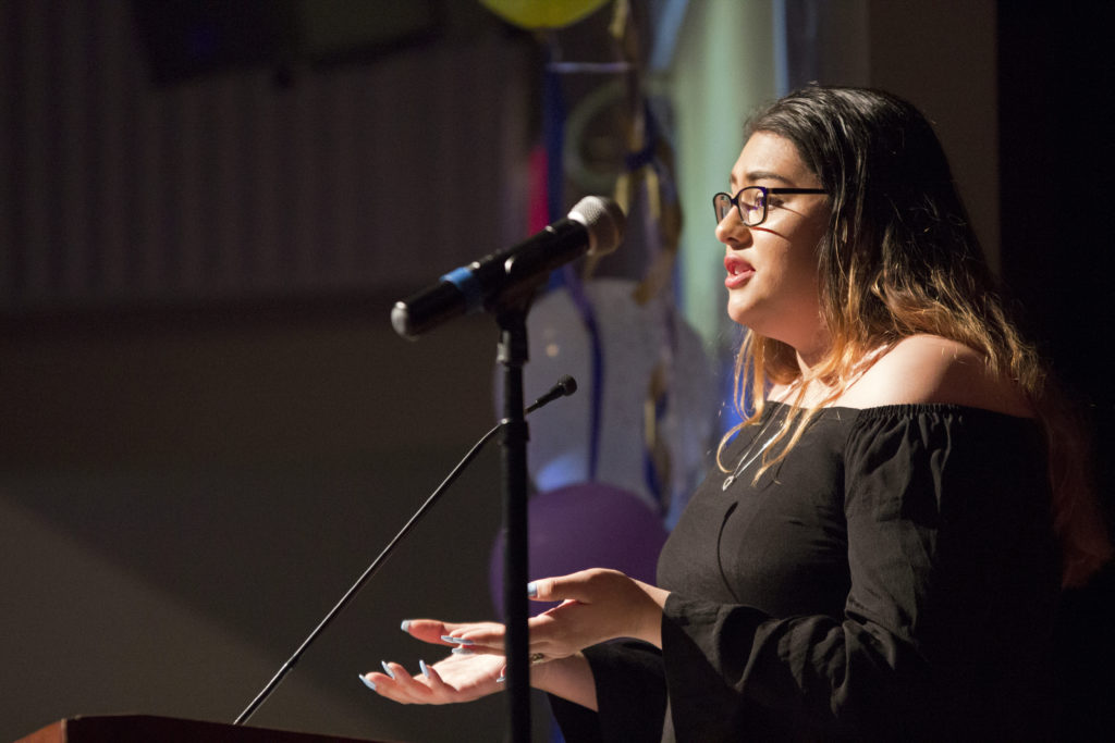 Jonniece Qunitero, a Project Connect intern gives a speech during the 13th Annual Leadership Recognition Reception & Scholarship Award Ceremony. (Christian Urrutia/Golden Gate Xpress)