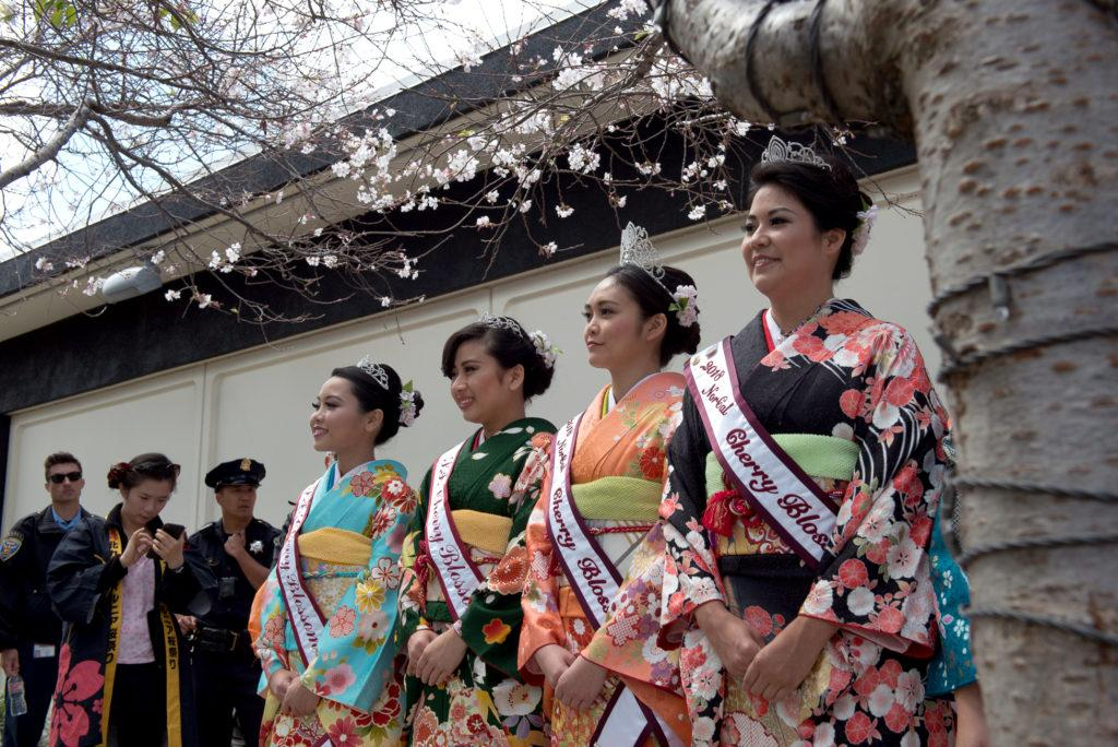 Lauren, left, Rachel, Nicole and Maya who is wearing the black kimono are all part of the 2018 Northern California Cherry Blossom Queen Program in San Francisco on Saturday, Apr. 15, 2010. (David Rodriguez/Golden Gate Xpress)
