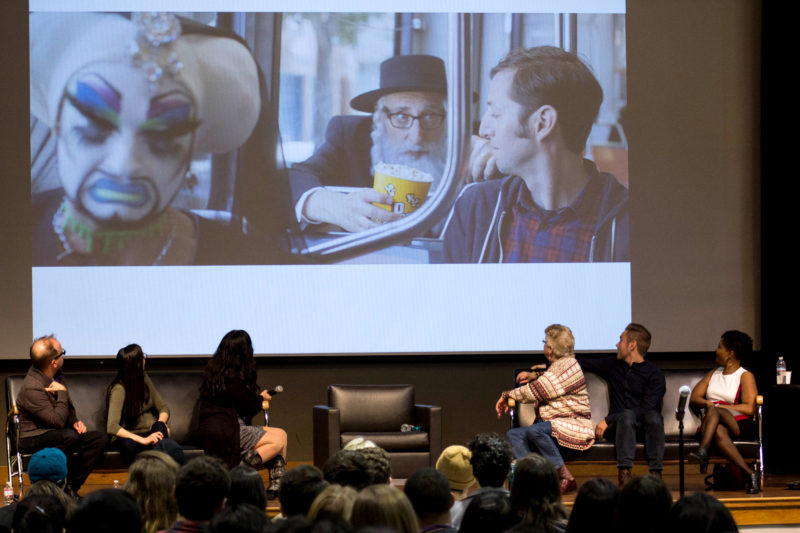 The Panel at the Entertainment Alliance watch the screen for a trailer for the Jewish Film Festival. Photo by Jordi Molina/Golden Gate Xpress