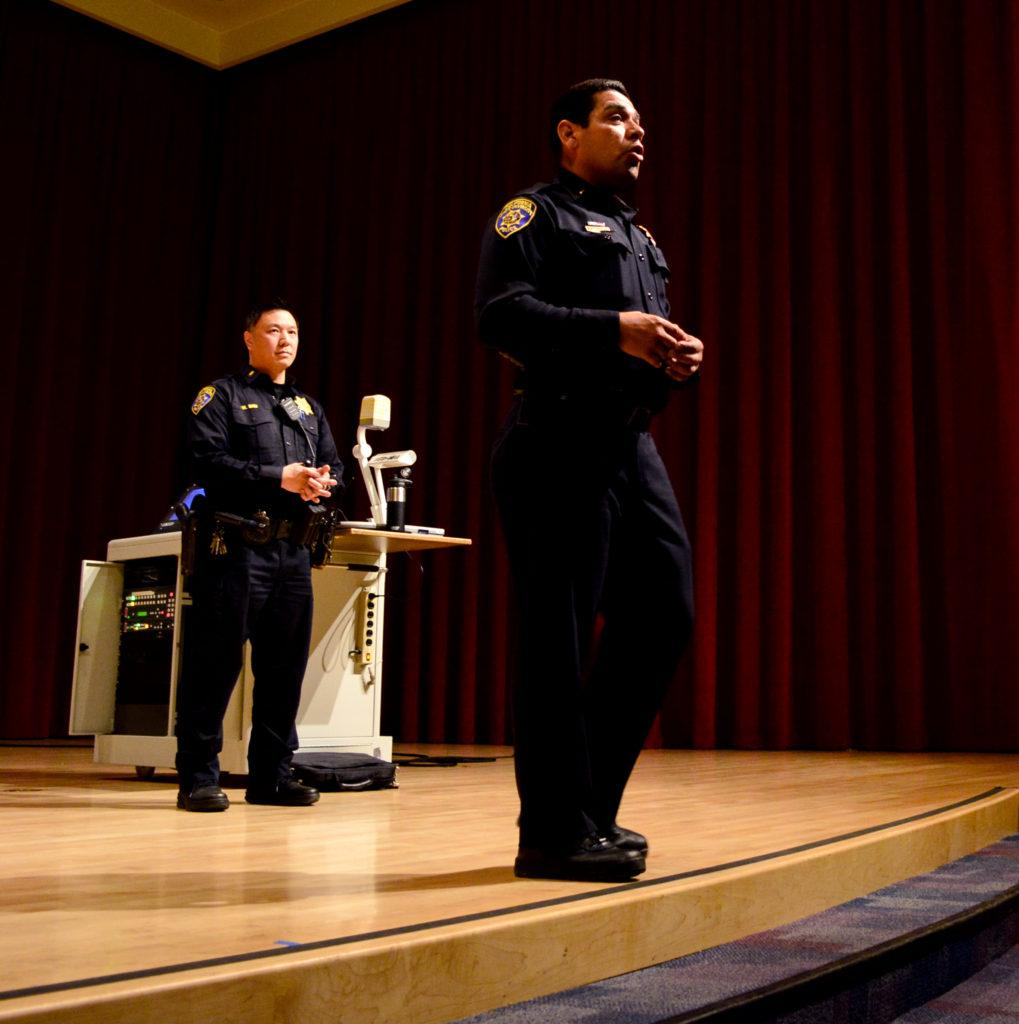 Lieutenant Wailun Shiu and Lieutenant John Rodriguez from the California State University Police department taking part in the, Active shooter presentation. A Gun Awareness seminar being held at university grounds on Tuesday April 3rd 2018. (Bryan Ramirez/Golden Gate Xpress)