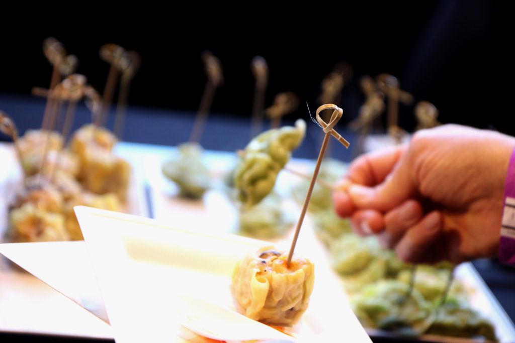 A shrimp dumpling at Taste of the Bay hosted by SF State's Hospitality and Tourism Management students. (Oscar Rendon/GoldenGateXpress)