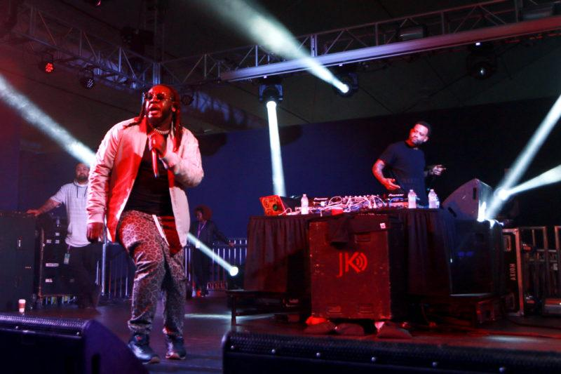 T-Pain perfroms on stage for the 8th Annual Rhythms Music festival at the Annex in SF State on Saturday April 14th, in San Francisco, Cali.  (Diego Aguilar/Golden Gate Xpress)