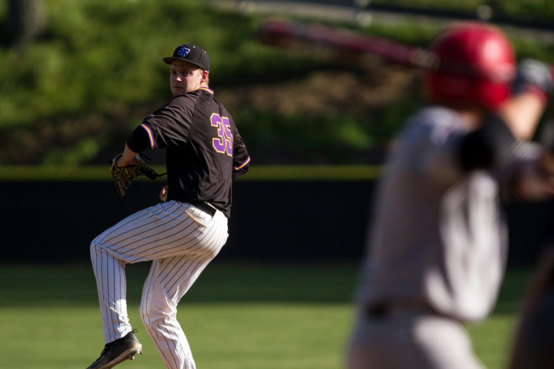 SF State pitcher Jordyn Eglite (35) winds up a pitch during the game against Holy Names University at Maloney Field at SF State on Monday, April 2, 2018. (Joey Vangsness/Golden Gate Xpress)